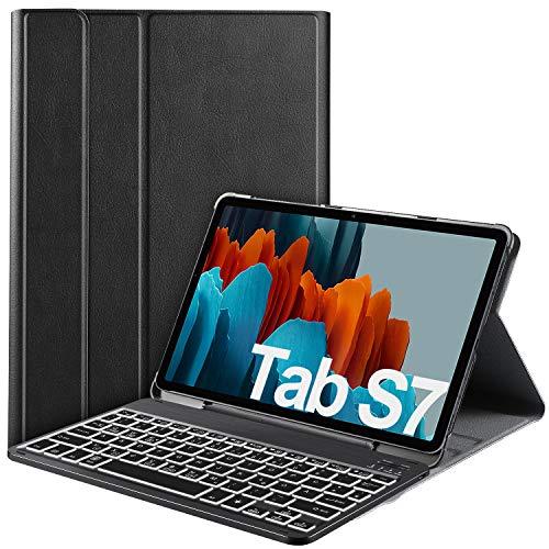 IVSO Samsung Galaxy Tab S7 Tastatur Hülle, [QWERTZ Deutsches], Schutzhülle mit abnehmbar Bluetooth Tastatur für Samsung Galaxy Tab S7 (SM-T870/875) 11 Zoll 2020 mit 7-farbigen Beleuchtung, Schwarz