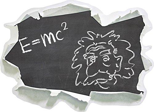 Albert Einstein, Papier 3D Taille Sticker Mural: 62x45 cm décoration Murale 3D Stickers muraux Stickers