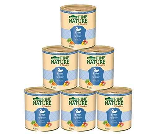 Dehner Fine Nature Hundefutter Senior, Lebensmittelqualität, Ente, 6 x 800 g (4.8 kg)