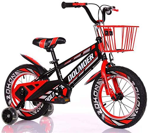 Lightweight, Kids Bike Child's Bicycle with Hummer Flash Training Wheels, 12' 14' 16' 18' Inch Boys/Girls Pedal Bikes for 3-6-9-Year-Old with Basket Inventory clearance ( Color : Red , Size : 14inch )