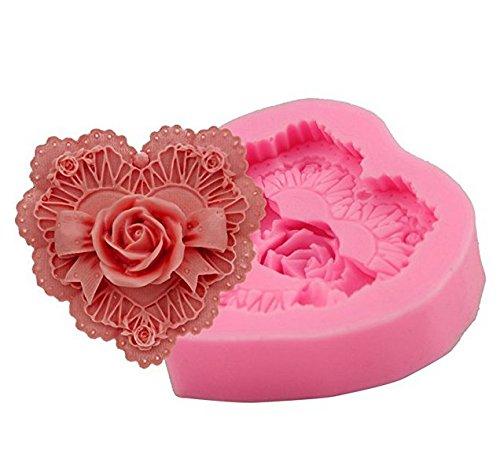 Da.Wa Moule Silicone a Fondant Décoration pour Cake Design Décoration Gateau Moule Fimo - Rose en Forme de Coeur - 7.1 * 7.6 * 2.1 cm
