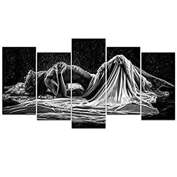 sechars - Naked Girl in The Rain Picture Canvas Prints,Black and White Sexy Woman Wall Art,5 Panels Art Framed for Modern Bedroom Wall Decoration