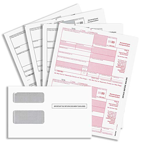 """""""New"""" 1099-NEC Forms for 2020, 4-Part Tax Forms, Vendor Kit of 25 Laser Forms and 25 Self-Seal Envelopes, Forms Designed for QuickBooks and Other Accounting Software"""