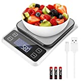 Digital Food Scale Weight Grams and oz, 11lb Rechargeable Kitchen Scale for Cooking Baking, 0.1g/0.001oz Precise Graduation,Tare Function, 7 Units Large Backlit LCD Display, Easy Clean Stainless Steel