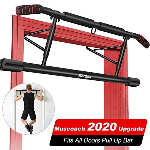 MUSCOACH Pull Up Bar for Doorway with Angled Grip Door Frame Chin Up Bar for Home Gym Exercise,No Installation Needed Protable Fitness Pull-Up Bars - Electronic Workout Guide(Fits Almost All Doors)