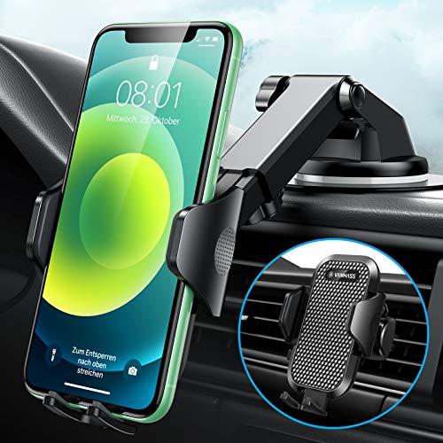 VANMASS Handyhalterung Auto 3 in 1 Lüftung & Saugnapf Handyhalter Fürs Auto 100{2e07bbf55d7cfc9a366e38860a40794dd819ca7fc3fe4cf962532f711d2f0bea} Silikonschutz Universale Kfz Handyhalterung 360°Drehbar Flexibel Für Alle Handys & Alle Autos iPhone Samsung Huawei LG