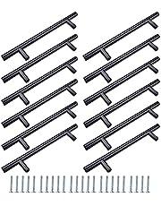 12 stuks kledingkastgrepen zwart, kastlade-stanggreep, deurladegrepen, met bijpassende schroeven, kan worden gebruikt in keuken, slaapkamer, woonkamer en badkamer