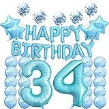 Décorations Pour 34e Anniversaire Ballons en Mylar bleu Numéro 34 Décoration en Latex Idéal Pour les 34 Ans Accessoires Photo