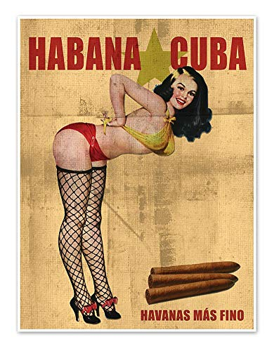 Cuban Cigar Advertisement Print - Vintage Style Pinup Girl in Fishnet Stockings Art Poster - measures 18 inches x 24 inches (458 mm x 610 mm)