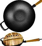Oakfire - Sartén wok (hierro fundido, 31 cm, tapa de inducción, mango de madera)