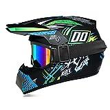 Fengcheng Motorradhelm für Kinder Motocross & Kinderhandschuhe & Brille für Kinder Motorradhelm ATV D.O.T Zulassung Integralhelm abnehmbar