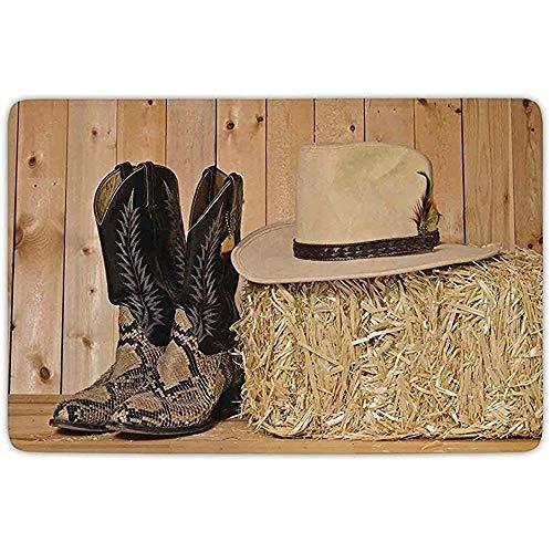 Peeeenny Beeen Badteppich-Matte, Western-Dekor, Cowboystiefel aus Schlangenleder in Scheune mit Hay Old West Austin, Texas, Cremebraun, Flanell-Mikrofaser