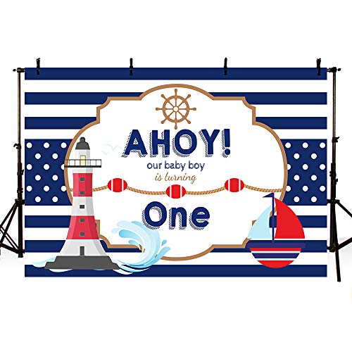 MEHOFOND Ahoy Nautical Boy 1st Birthday Backdrop Props Blue Stripes Boat Little Baby Boy Happy One Birthday Photography Background Photo Banner for Cake Table Supplies 7x5ft