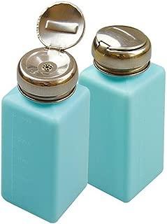 KEAIYYJ Metal One-Touch Liquid Dispenser Pump Square Bottle for Alcohol/Nail Polish Remover Empty Plastic Bottles Light Blue 2 Pack