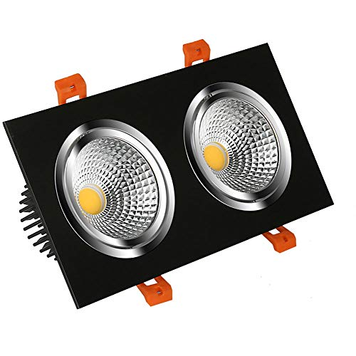 Laytter Pfeiler-doppelter Hauptscheinwerfer führte Grill-Licht-Galle-Lampe eingebettete Deckenleuchte 3w, 5w, 9w, 12w, 15w, 20w (Color : Black, Größe : 15w)