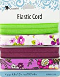 Cousin DIY Fold Purple Floral Patterns Wide Band Elastic Ribbon, Green/Pink