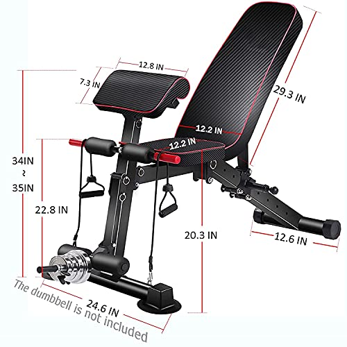 Adjustable Weight Bench,Utility Workout Bench Foldable Incline Decline Benches for Home Gym Full Body Workout,Load 330LBS