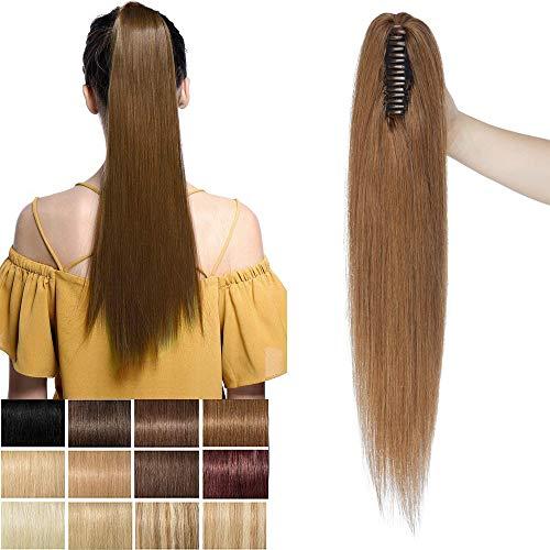 Rich Choices Extension Capelli Veri Coda di Cavallo con Pinza 100% Remy Human Hair Ponytail Extension Lunga 35cm Pesa 105g, 6 Castano