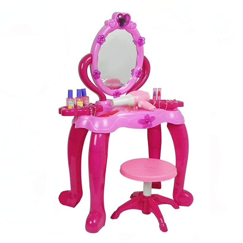 Fantasy Vanity Beauty Dressing Table Dresser Vanity Beauty Set | Pink Princess Pretend Play with Makeup Mirror Jewelry and Accessories Children's Makeup Mirror (Color : Pink, Size : 542370cm)