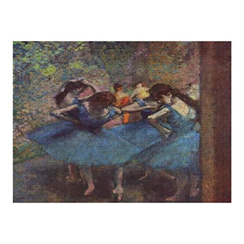 VinMea Rompecabezas de 300 piezas para bailarines en azul Edgar Degas rompecabezas para niños, adultos decoración del hogar divertidos juguetes regalos de cumpleaños