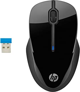 HP 250 Black 2.4 GHz USB Wireless Mouse with Blue LED 1000, 1200, 1600 DPI Optical Sensor, Up to 12 Months Battery Life