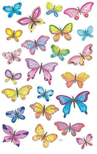 AVERY Zweckform 4390 - Papier Sticker Schmetterlinge, Dekosticker, Aufkleber, selbstklebend,  DIY, Scrapbooking, Tagebuch, Fotoalbum, Bullet Journal Zubehör, 69 Sticker