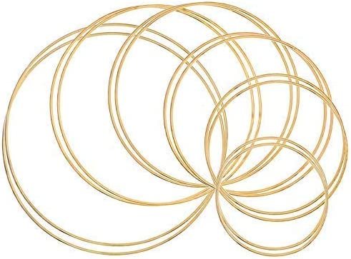 Outuxed 12pcs Gold Dream Catcher Metal Rings Supplies, Metal Hoops Macrame Creations Ring for Crafts, 6 Size(4inch, 5...