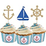 24 Pcs Nautical Theme Glitter Cupcake Picks Cupcake Toppers Food Fruit Picks for Decoration Party Favors