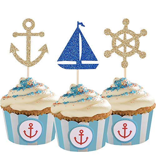 24 Pcs Nautical Theme Glitter Cupcake Picks Cupcake Toppers Food Fruit...