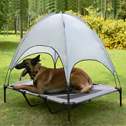 Elevated Dog Bed With Canopy Grey - Pet Dog Bed, Breathable Portable Dog Cushion With Sun Canopy Double-layer Camp Tent