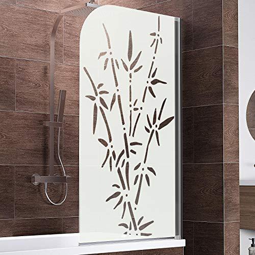Schulte D1650 Duschwand Komfort, 80 x 140 cm, 5 mm Sicherheitsglas Bamboo, chromoptik, Duschabtrennung für Badewanne