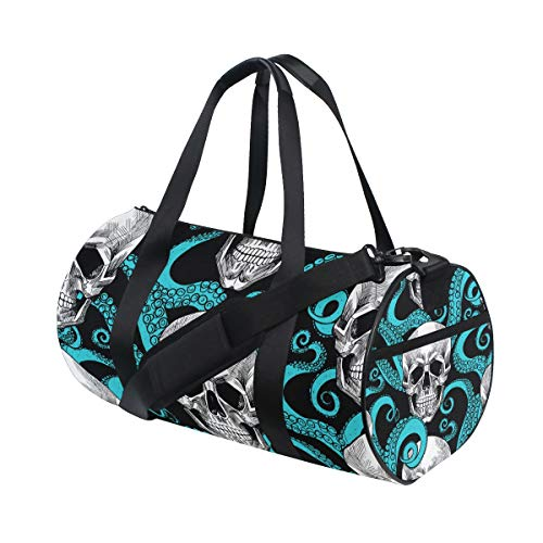 Skull and Octopus Tentacles Sports Duffle Bag Gym Bag Travel Duffel with Adjustable Strap, Backpack Weekend Bag Luggage Tote for Men Women