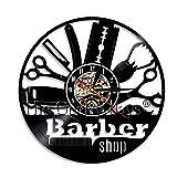 Lanlugg 1Pcs Barbiere Vinyl Record 3D Orologio da Parete Design Moderno Orologio da Parete Barber Shop Parrucchiere Decorazione da Parete per Salone di Bellezza Dial Vision