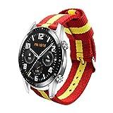 Estuyoya - Pulsera de Nailon compatible con Huawei Watch GT 2 / Huawei Watch Sport/GT Classic /Fashion/GT Active 22mm Colores Bandera de España Transpirable Deportiva Elegante - Rojo-Amarillo