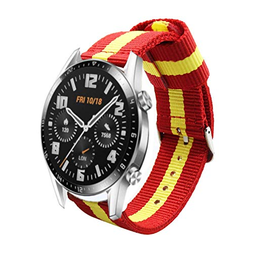 Estuyoya - Pulsera de Nailon compatible con Huawei Watch GT 2 / Huawei Watch Sport/GT Classic /Fashion/GT Active 22mm Colores Bandera de España Transpirable Deportiva Elegante - Rojo-Amarillo