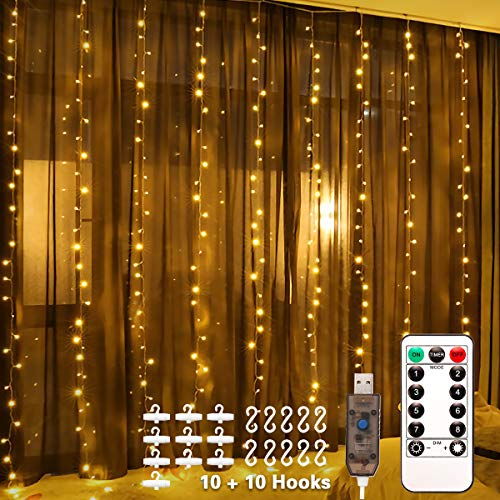 LED Window Curtain String Light, Remote Control, 8 Modes Decorative Lights, 3x3m 300 LED Fairy Lights, USB Powered, Water Resistant for Home Decor Garden Party  Christmas Wedding(Warm White)