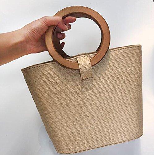 Olici MDRW-Nieuwe Mode Strand Vakantie Houten Ring Hand Doek Weave Slanted Span Handtassen Voor Dames
