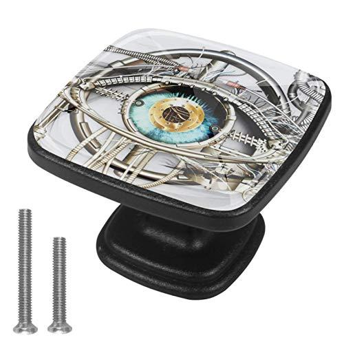 Ojos mecánicos Perillas de gabinete 4 pcs Round Knobs Knobs Tiradores de puerta de de con tornillos para la cocina de cajón de gabinete