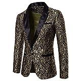 QUICKLYLY Trajes Hombre Chaquetas Charm Encanto Casual Un Botón Apto Fit Suit Traje Blazer Abrigo Tops Fiesta Lentejuelas Chaqueta Esmoquin Estampada Manga Larga Cardigan(Oro,XL)