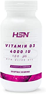 HSN Vitamin D3 4000 IU | Cholecalciferol Vitamin D Supplement | for the Bones and Immune System | 1 Easy-to-swallow Mini s...