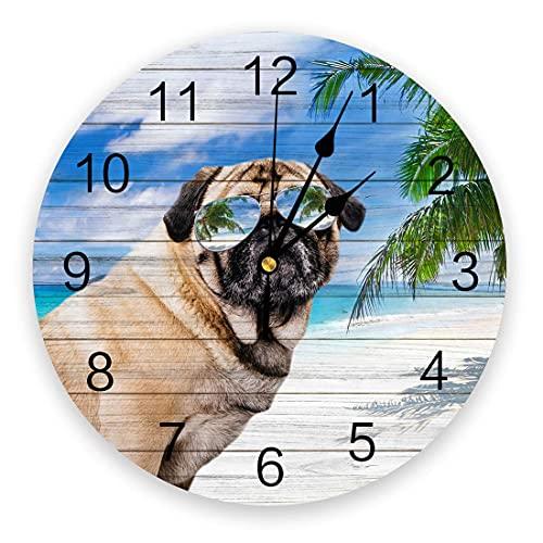 Reloj de Pared con Animales de 9,8 Pulgadas, Reloj Colgante Redondo Que Funciona con Pilas, Relojes Decorativos para la guardería, Dormitorio, Sala de Estudio, hogar, Perro Pug con Gafas de Sol en el