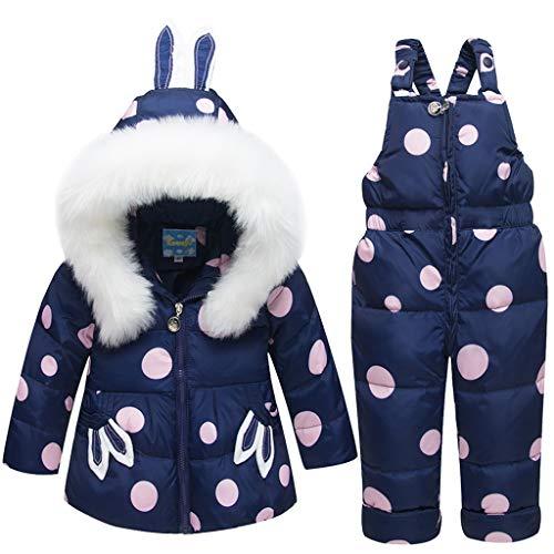 JiAmy Tuta da Neve per Neonata Bambino Piumino con Cappuccio Cappotto + Pantaloni da Neve per Bambini 2 Pezzi di Sci Impostato Blu 3-4 Anni