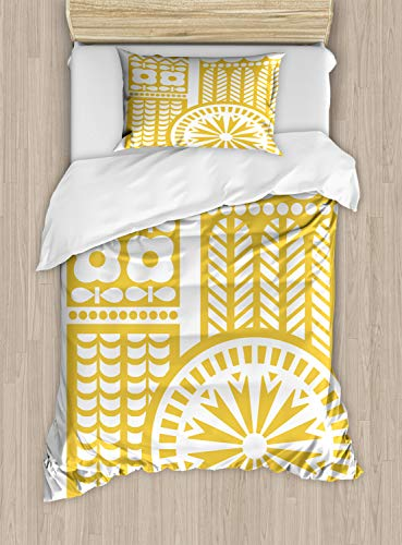 ABAKUHAUS Yellow and White Dekbedovertrekset, Abstracte Vogel, decoratieve 2-delige bedset met een siersloop, mosterd White
