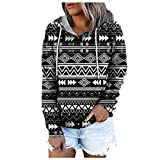 BHSJ Women Retro Printed Hooded Sweatshirts Casual Long Sleeve Pullover Tops with Pocket Fall Winter Drawstring Hoodies Shrug Fall Goth Cute Anime Pink to Wear with Jeans Leggings Tall Tight Fit
