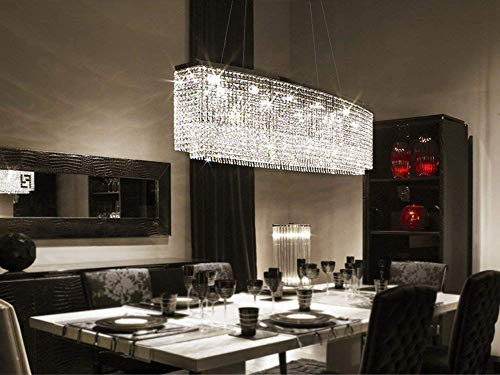 7PM Rectangle Crystal Chandelier Modern Chrome Pendant Light Contemporary Clear Beads Ceiling...