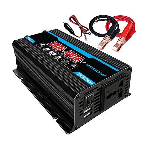 KESOTO Inversor de Corriente de / 220V Y 2 Fuentes de Alimentación con Clip de Batería - Negro 110V B