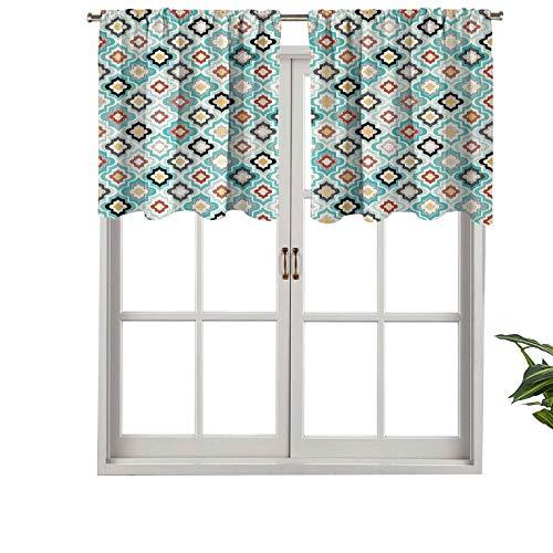 Hiiiman Cortinas térmicas aisladas con cenefa estilo otomano vintage con diseño floral heráldico antiguo, juego de 1, 127 x 45 cm para decoración de salón comedor