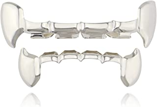 24K Gold Plated Vampire Fangs Top Bottom Hip HopTeeth Grillz with Edible Silicone Molding Bars & Tweezer