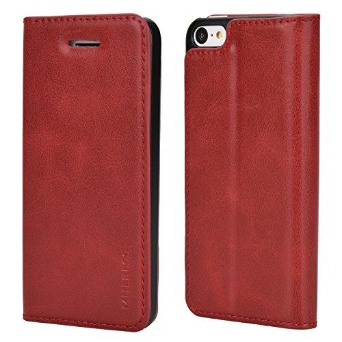 Mulbess Cover per iPhone 5c, Custodia Pelle con Funzione Stand per iPhone 5c Flip Case, Vino Rosso