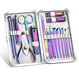 2020 New Rainbow Manicure Kits 18 Pcs Nail Clippers for Women Gift SFYDOM Women's Rainbow Leather Manicure Set (18-RainbowManicure Kits)
